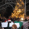 Salisbury: The Salisbury Elementary School Band, along with the chorus, plays at the Annual Tree Lighting in Salisbury Square Sunday night. Jim Vaiknoras/Staff photo