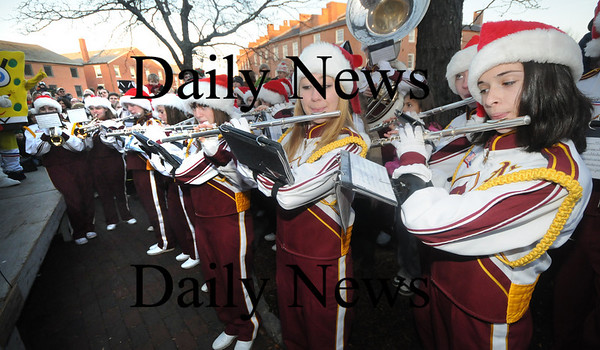 Newburyport: The Newburyport high school band performs at  the annual Newburyport Parade and Tree Lighting Sunday night in Market Square. Jim Vaiknoras/Staff photo