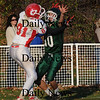 West Newbury: Pentcuket's Mike Doud defends a pass in the endzone thrown to Mascomonet's Collin Burke  Saturday at Pentucket. Jim Vaiknoras/Staff photo
