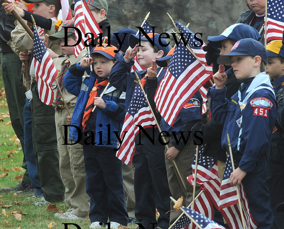 Newburyport: Scouts salute the flag during the annual Veteran's Day ceremony at Veteran's Cemetery in Newburyport Wednesday morning. Jim Vaiknoras/Staff photo