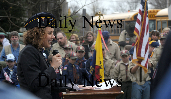 Amesbury: Veteran's Affairs Agent Kristin LaRue speaks at the Veteran's Day ceremony at the Amesbury Middle School Wednesday. Jim Vaiknoras/Staff photo