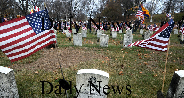 Newburyport: Th annual parade makes it's way into Veteran's Cemetery for the Veteran's Day ceremony Wednesday. Jim Vaiknoras/Staff photo