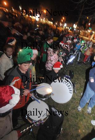 Salisbury: The Salisbury Elementary School Band, along with the chorus, plays at the Annual Tree Lighting in Salisbury Square Sunday night. Jim Vaiknoras/Staff photo