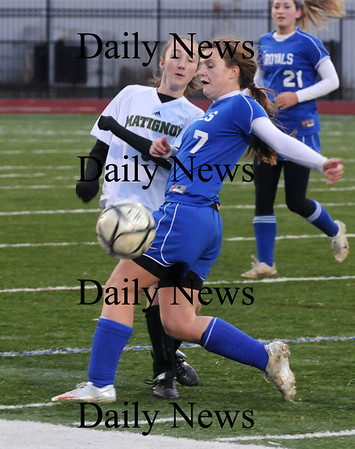 Lynn: Georgetown's  Nicole DiMaio fights for the ball against Matignon Wednesday at the Manning Bowl. Jim Vaiknoras/Staff photo