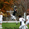 Newburyport: Newburyport's goalkeeper Alex Allman leaps for a ball during the Clippers' 1-0 win over Methuen Monday afternoon. Photo by Ben Laing/Staff Photo