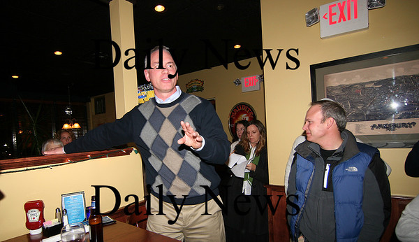 Amesbury: Incumbent Mayor Thatchter Kezer addresses his supporters at the Ale House in Amesbury after winning re-election on Tuesday night. Photo by Ben Laing/Staff Photo