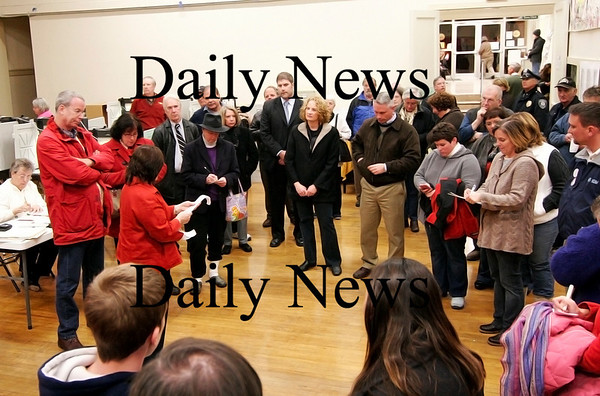 Amesbury: A crowd gathers at City Hall in Amesbury as the vote tally is read off following Tuesday nights election. Photo by Ben Laing/Staff Photo