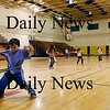 Newbury: Bruce Truedale, left, a second grader at Newbury Elementary School, shows off his hulu hoop skills along with his classmates Thursday afternoon. Photo by Ben Laing/Staff Photo