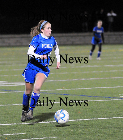 Quincy: Ashley Mueskes (6) brings the ball up the field for Georgetown in Tuesday night's Eastern Mass. State Final against Millis. Photo by Ben Laing/Staff Photo