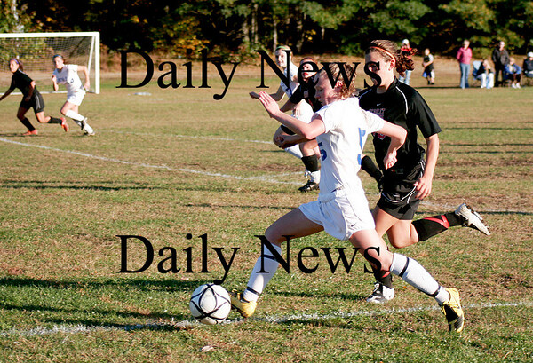 Georgetown: Casey Decareau (5) of Georgetown beats a North Andover defender during Monday afternoon's game. Photo by Ben Laing/Staff Photo