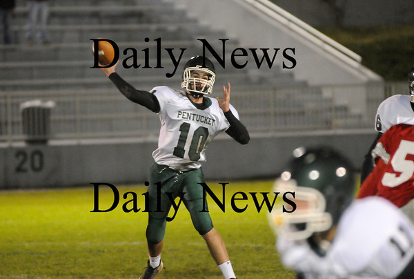 Amesbury: Pentucket quarterback Mike Doud (10) releases a pass during Friday nights game in Amesbury. Photo by Ben Laing/Staff Photo