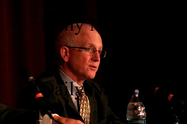 Newburyport: Mayoral candidate James Shanley answers a question during Wednesday nights debate at Newburyport High School. Photo by Ben Laing/Staff Photo