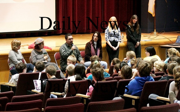 Amesbury: Stepping Stones, an organization that helps people with brain injuries, had some of their members speak to the sixth graders at Amesbury Middle School on Wednesday. Photo by Ben Laing/Staff Photo