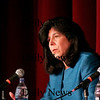 Newburyport: Mayoral candidate Donna Holladay answers questions during Wednesday night's debate at Newburyport High School. Photo by Ben Laing/Staff Photo