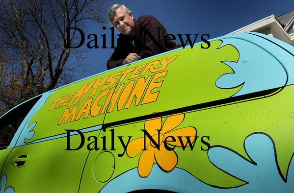 Newburyport: Steve Crosby of Marlboro Street has turned this van into the Mystery Machine as take off of the television cartoon Scooby-Doo, which is this year's theme for his annual Halloween display. Bryan Eaton/Staff Photo