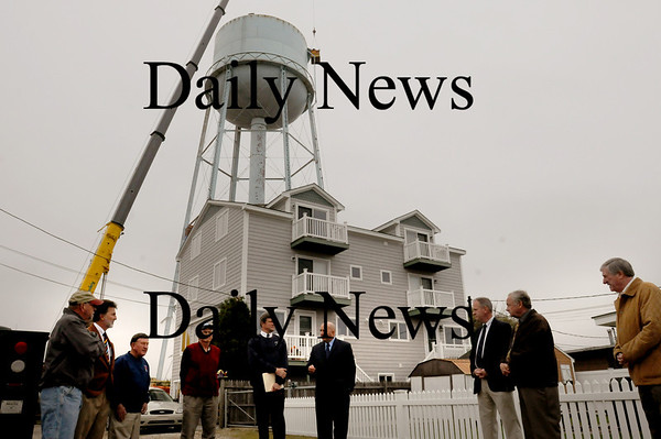 Salisbury: Local and state officials met to herald the demolition of the 50 year-old water tower at Salisbury Beach which will be replaced with a new structure. Bryan Eaton/Staff Photo
