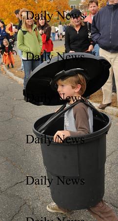 Newburyport: Frank Hillhouse, 6, dressed as a trash can in the Bresnahan School Halloween Parade. Bryan Eaton/Staff Photo