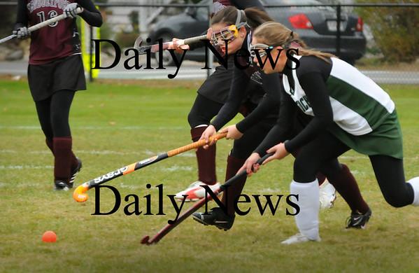West Newbury: Newburyport's Paige Hefferen, left, and Pentucket's Molly Sanford move for the ball. Bryan Eaton/Staff Photo