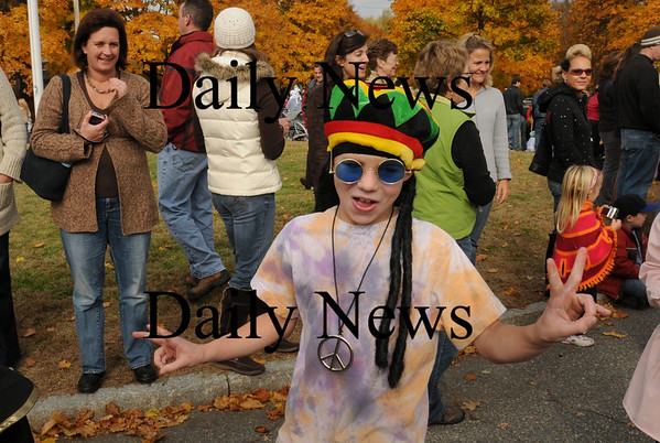 Newburyport: In addition to the usual vampires, witches and goblins, there were many 60's inspired costumes like Walker Bartkiewicz, 8, at the Bresnahan School's Halloween Parade. Bryan Eaton/Staff Photo