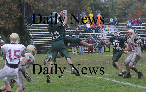 West Newbury: Pentucket's Mike Doud and Dan Depaolo go up for an nterception toward the end of the  Sachem's 3-2 victory over Newburyport Saturday in West Newbury.Doud came up with the ball Jim Vaiknoras/Staff photo