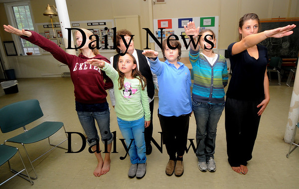 Newburyport:Anna Smulowitz works with actors, from left: Christina Beck, Grace Mongomery, Ryan Partian, Linea Menin and Kayt Tommasino, during a rehearsal for Anna's play Terezin. Jim Vaiknoras/Staff photo