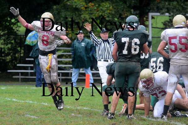 West Newbury: Newburyport's nicholas Welch signal a turnover after  a Sachem's fumble during the Clippers 3-2 lose to Pentucket Saturday in West Newbury. Jim Vaiknoras/Staff photo