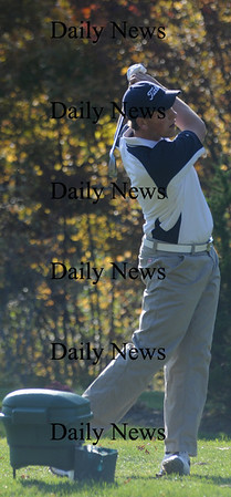 Bradford: Triton's Alec Chatterton tees off at Bradford Country Club for the River Rivals tournament. Jim Vaiknoras/Staff photo