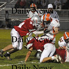 Amesbury: Amesbury's James Pelkey srips the ball from Ipswich's Nathaniel Bocko during Friday nights game at Amesbury. Pelkey returned the fumble for a touch down. Jim Vaiknoras/Staff photo