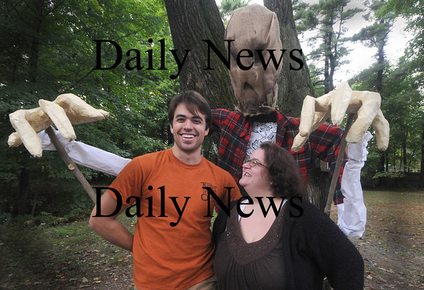 Newburyport: Ed Spark and Beth Randall of the Theater in the Open  pose with their entry in the annual Scarecrow contest during Newburyport Harvest Festival. Jim Vaiknoras/Staff photo