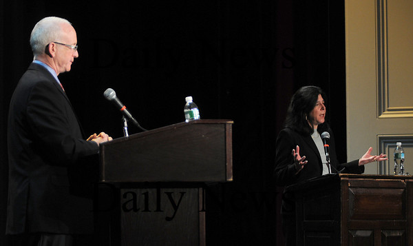 Newburyport: Mayoral candidates James Shandley and Donna Holaday debate at Newburyport High School for the Civics class. Jim Vaiknoras/Staff photo