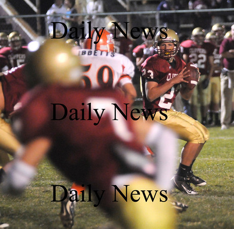 newburyport: Newburyport's Ryan O'Connor spots Kyle LeBlanc down field before tossing him a touchdown pass in the 2nd quarter Friday night game against Ipswich. Jim Vaiknoras/ Staff photo