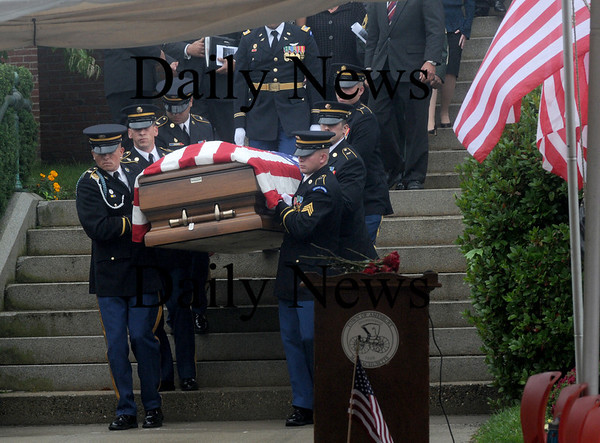 Amesbury:The casket containing the body of  Sgt. Jordan Shay is taken down the steps by a military honor guard at  St Joseph's Church in Amesbury  Saturday morning. Jim Vaiknoras/Staff photo