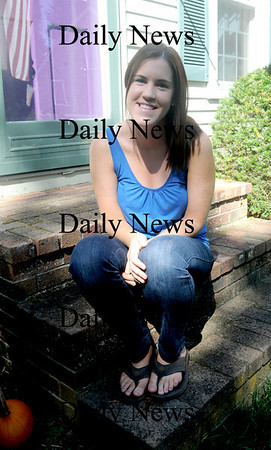 Amesbury: Sarah Ferguson poses on the front steps of her Amesbury home, Sarah has joined the Peace Corp and will be leaving Tuesday for Azerbaijan. JIm Vaiknoras/Staff photo