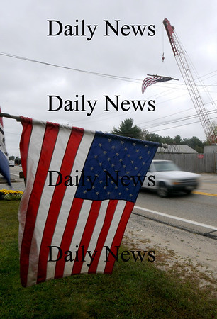 Salisbury: Flags line  Main Street in Salisbury , which is part of the parade route for Jordan Shay , a soldier from Amesbury killed in Iraq last week. Jim Vaiknoras/Staff photo