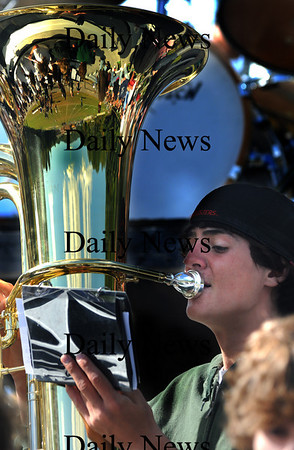 West Newbury; Ben Craig of West Newbury plays tuba with the Pentucket high pep band at the Sachems home game Saturday agianst Hamilton-Wenham;. Jim Vaiknoras/Staff photo