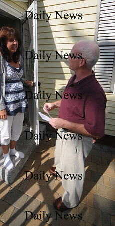 Newburyport: Mayoral candidate James Shandley talks with Olive Street resident Connie Casey Monday as he goes door to door campaigning. Jim Vaiknoras/Staff photo