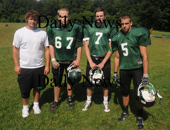 West Newbury: Pentucket High football capt.Cameron Spofford, Marc Lovett, Mike Brennan, and Dan Dragon. Jim Vaiknoras/Staff photo