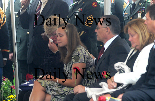 Amesbury:Sgt Jordan Shay's mother Holly Shay and his fiance Kelsey Chadonnet grieve at his  funeral at St Joseph's Church in Amesbury  Saturday morning. Jim Vaiknoras/Staff photo