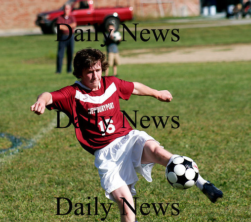 West Newbury: Newburyport's James Riley (16) plays a ball out of the air during Monday's 2-1 win over the hometown Sachems at Pentucket. Photo by Ben Laing/Staff Photo