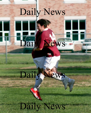 West Newbury: Newburyport's Jake Stigliano (14) celebrates with teammate Yazid Eideh (9) after netting the Clippers' second goal Monday afternoon as Pentucket fell at home