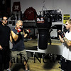 Salisbury: Dan Greene, center left, and Josh Hersey, center right, will fight this Saturday in Concord, NH as part of the Global Fight League. The pair are joined by sparring partner Josh Bourque, far left, coach Bill Horrocks, left, and jujitsu coach Josh Webster, right. Photo by Ben Laing/Staff Photo