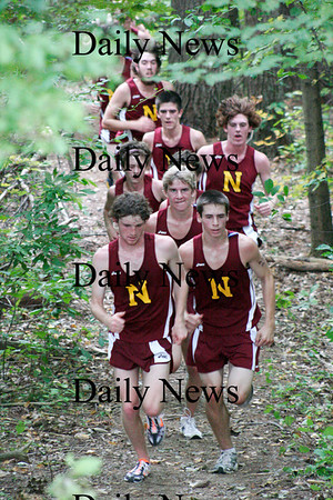 Georgetown: A pack of Newburyport cross country runners finish together ahead of the pack as the Clippers battled Pentucket and Georgetown Wednesday afternoon. Photo by Ben Laing/Staff Photo