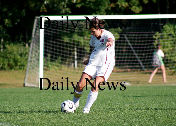 Newburyport: Newburyport's Veronica Poirier (1) kicks the ball during Monday's girls soccer game with Lowell at Cherry Hill. Photo by Ben Laing/Staff Photo