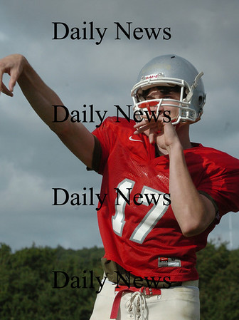 Amesbury: Amesbury High football quarterback Tyler Lay is starting in tonight's game. Bryan Eaton/Staff Photo Newburyport News Thursday  September 10, 2009.