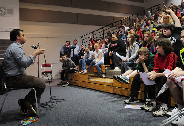 "Amesbury: Amesbury's Emmy-winning author Jack Ferraiolo takes questions from seventh-graders at Amesbury Middle School on Thursday morning. Students have read his recent novel ""Splash"" in their language arts class which deals about a bullying situation and how students dealt with and resolved the issues. Bryan Eaton/Staff Photo"