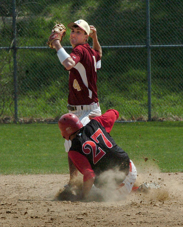 Newburyport: Newburyport's Ben Tyler looks to throw to first after getting Amesbury's Jesse Burrell out at second. Bryan Eaton/Staff Photo