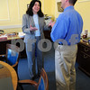 Newburyport: Newburyport Mayor Donna Holaday had several brief meetings yesterday afternoon, here with new health director Robert Bracey. Today marks her 100th day in office. Bryan Eaton/Staff Photo