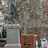 Newburyport: Cherry blossoms are in bloom behind the statue of William Lloyd Garrison in Brown Square which is not too far from being renovated. The cherry tree was the only one to be saved, and new ones on site await being planted. Bryan Eaton/Staff Photo