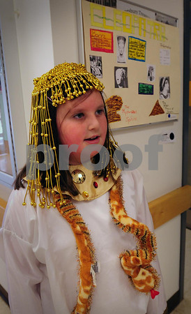 Amesbury: Carissa Whittemore tells first and second-graders about the life of Cleopatra during the Cashman School's annual Wax Museum. The presentation by the Amesbury fourth-graders is the highlight of the semester of studies on biographies. Bryan Eaton/Staff Photo