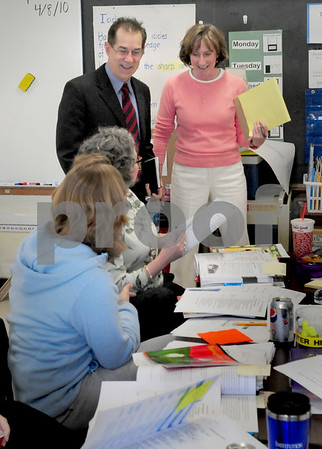 Newburyport: New Newburyport schools superintendent Marc Kerble, left, with curriculum director Angela Bik, meets teachers at the Bresnahan School who were spending the afternoon in professional development groups. Bryan Eaton/Staff Photo
